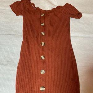 Orange Mini Buttoned Dress